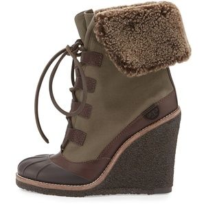 Tory Burch Fairfax Shearling Fur Lined Wedge Boots